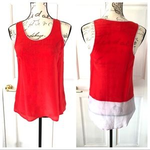 Maeve Silk Sleeveless Tank Top Blouse Pink Red 2